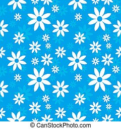 Flowers  blue seamless background
