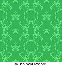 Flowers seamless background green