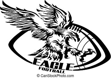 eagle football team design with flying mascot for school,...