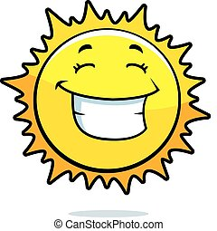 Sun Smiling - A cartoon yellow sun happy and smiling