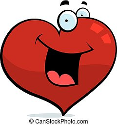 Heart Smiling - A cartoon red heart happy and smiling