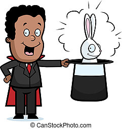 Kid Magician - A happy cartoon kid magician with a rabbit in...