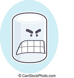 Angry Marshmallow - A white cartoon marshmallow with an...
