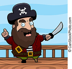 Pirate Ship - A happy cartoon pirate on the deck of a ship.