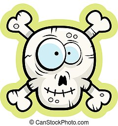 Skull and Crossbones - A cartoon skull and crossbones happy...