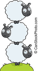 Stacked Sheep - Three cartoon sheep stacked on top of each...