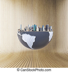 Urbanization concept with globe and city on brown...