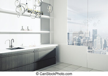 Kitchen interior with city view - Side view of modern...