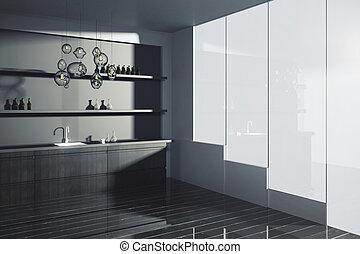 Dark kitchen interior - Side view of modern kitchen interior...