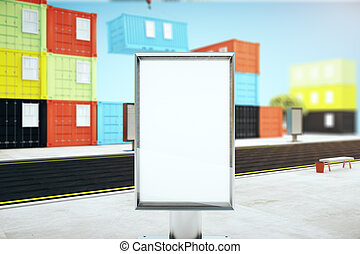 Blank banner and cargo containers