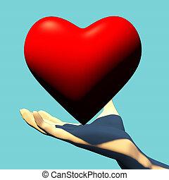 Heart in hand. 3D rendering