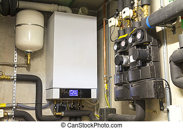 Condensing gas boiler in the boiler room