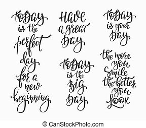 Positive life inspiration quotes lettering set