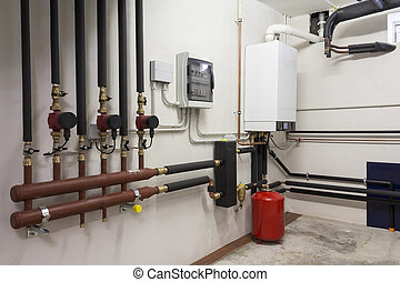 condensing boiler gas in the boiler room