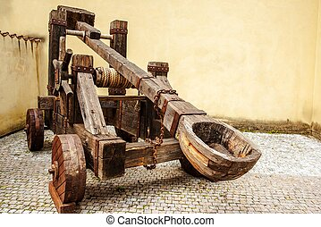 Wooden Medieval Catapult Ballistic Device. Ancient Military...