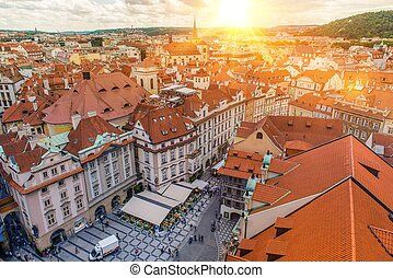 Prague Czechia Old Town Bird Eye View. Summer Sunset in the...