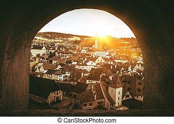 Cesky Krumlov Czechia - Cesky Krumlov Panorama Through The...