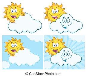 Sun Character 18. Set Collection - Sun Cartoon Mascot...