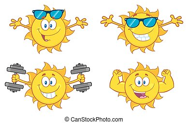 Sun Character 21 Set Collection - Sun Cartoon Mascot...