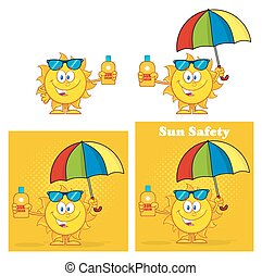 Sun Character. Set Collection - Sun Cartoon Mascot...