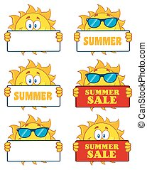 Sun Character 20. Set Collection - Sun Cartoon Mascot...