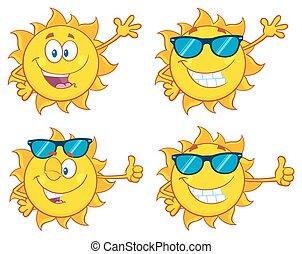 Sun Character 28. Set Collection - Sun Cartoon Mascot...