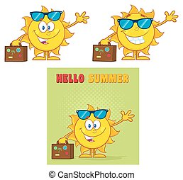 Sun Character 5. Set Collection - Sun Cartoon Mascot...