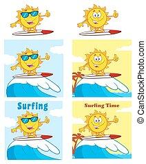 Sun Character 8. Set Collection - Sun Cartoon Mascot...