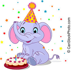 Baby elephant Birthday - Illustration of Very Cute baby...