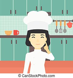 Chief cooker having idea vector illustration.