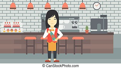 Waitress holding bottle of wine - An asian young waitress...
