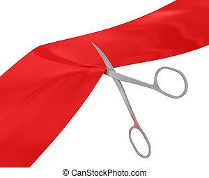 Manicure scissors cut red ribbon