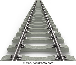 Long Rails Textured - Long 3D rails going to horizon