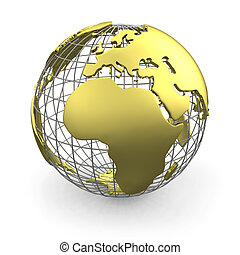 Golden globe, Europe - Golden wired 3D globe of Europe...