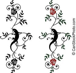 lizard and rose, set - set of vector illustration with...