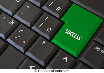 key to success - black keyboard with a key to success