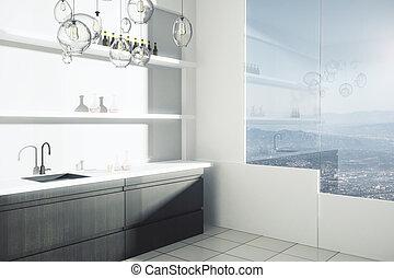 Bright kitchen interior - Side view of bright kitchen...