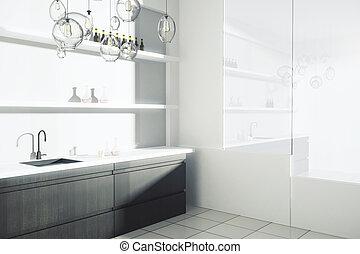 Modern kitchen interior - Side view of modern kitchen...