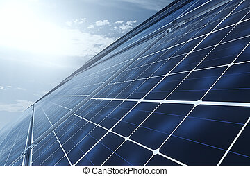 Side view of solar panels - Concept of technology...