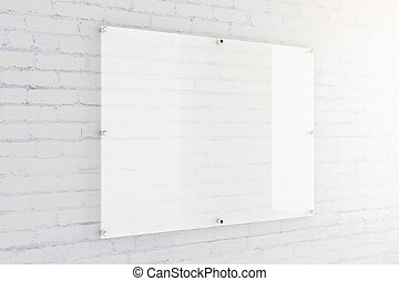 Glass plate on brick wall - Blank glass plate on white brick...