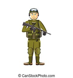 Soldier with weapons icon, cartoon style - Soldier with...
