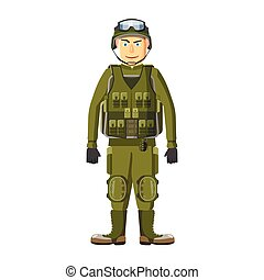 Soldier in body armor icon, cartoon style - Soldier in body...
