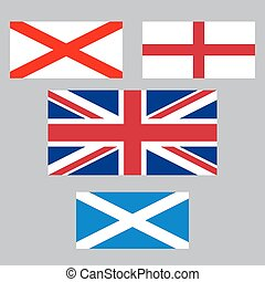 United Kingdom collection of flags England, Northern...