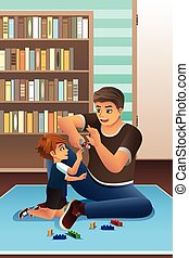Father Son Playing Together - A vector illustration of happy...