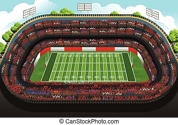 Background of an Empty American Football Stadium