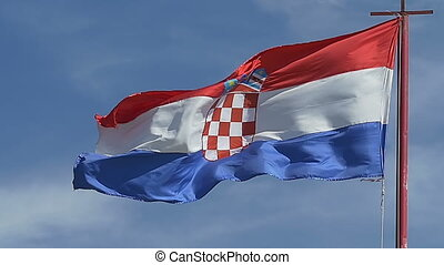 Croatian flag waving in the wind.