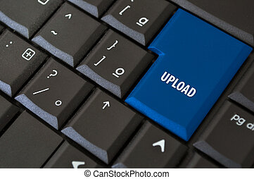 button to upload - black laptop keyboard with a button to...