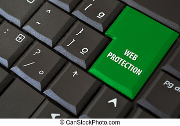 Internet with protection - laptop keyboard with a black...