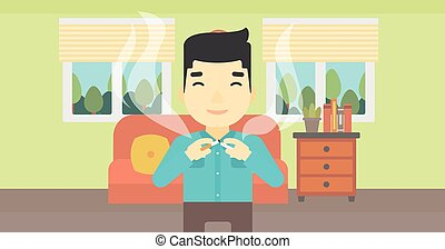 Young man quitting smoking vector illustration. - An asian...