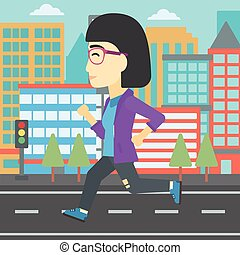Sportive woman jogging vector illustration. - An asian young...